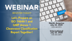 Upcoming Webinar: Let's prepare ISO 14644-1 and GMP Annex1 Cleanroom Classification Reports together! Small Image
